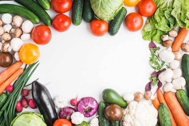 Border from delicious vegetables Free Photo