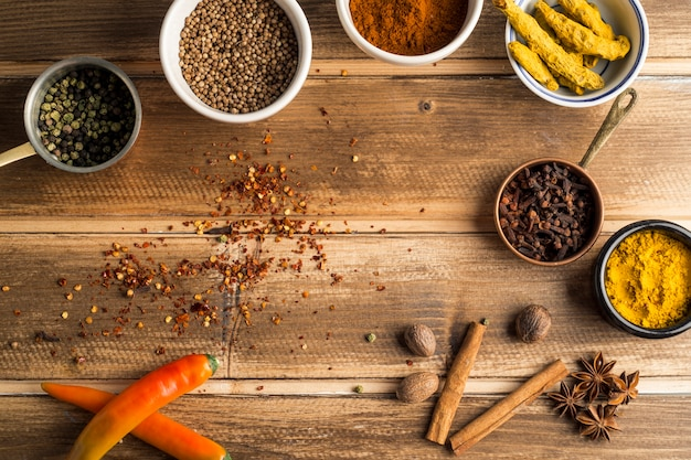 Border from various spices Free Photo