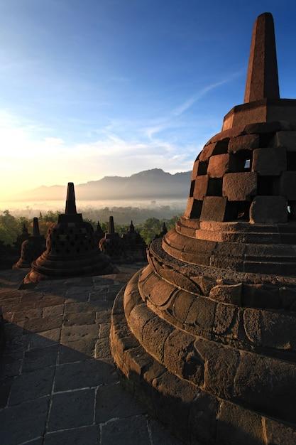 Borobudur temple stupa Premium Photo