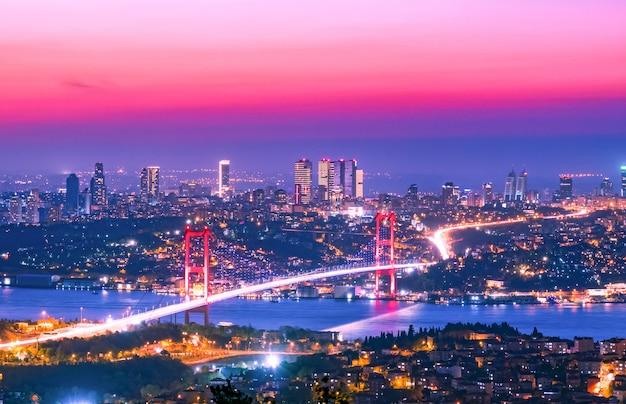 日没、イスタンブール、トルコのボスポラス橋 Premium写真