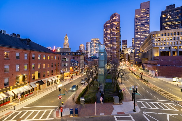 Boston downtown cityscape sunset Premium Photo