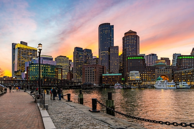 Boston downtown skylines bay Premium Photo