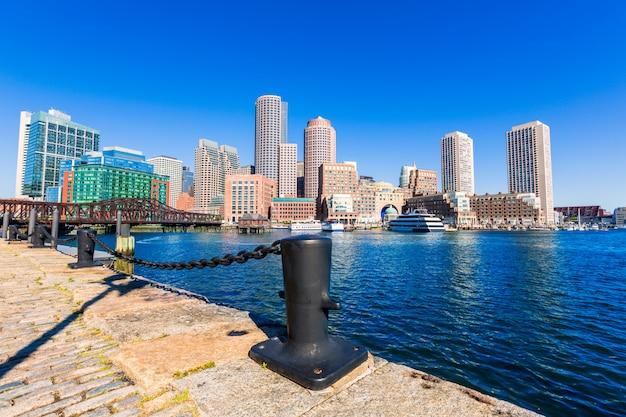 Boston skyline from fan pier sunlight massachusetts Premium Photo