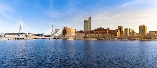 Boston zakim bridge panorama Premium Photo