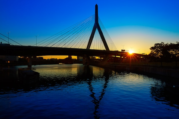Boston zakim bridge sunset in massachusetts Premium Photo