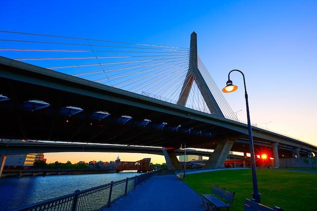 Boston zakim bridge sunset in massachusetts Premium Photo