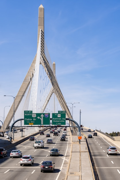 Boston zakim bridge Premium Photo