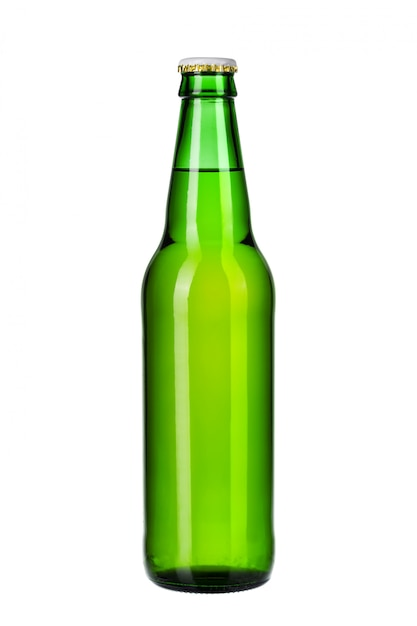Bottle of light beer isolated on white background close up Premium Photo