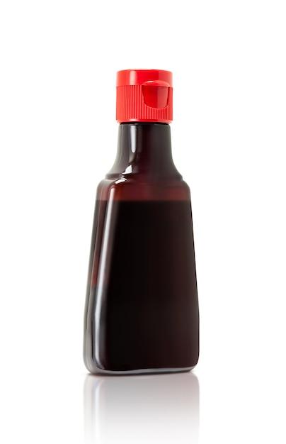 Bottle packaging of soy bean sauce, japanese food seasoning Premium Photo