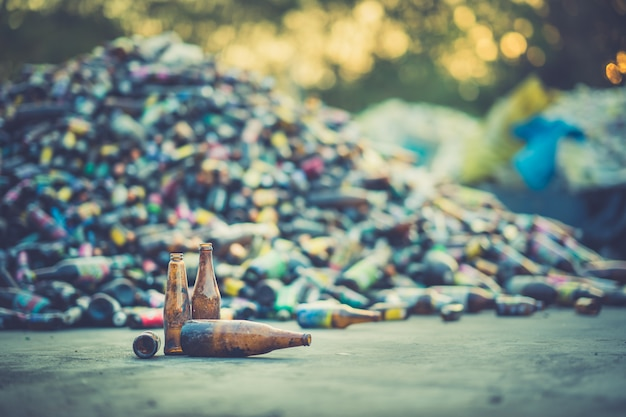 Bottle pile for recycle industry Premium Photo