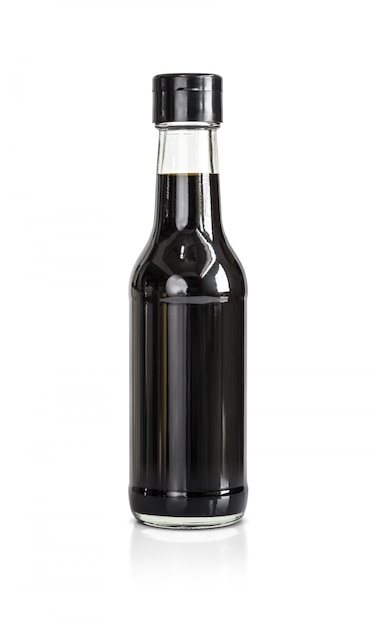Bottle of soy bean sauce isolated on white background Premium Photo