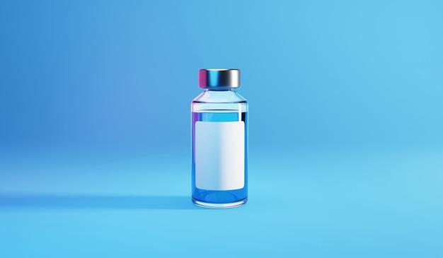 Bottle vial of covid-19 vaccine. 3d render illustration. Premium Photo