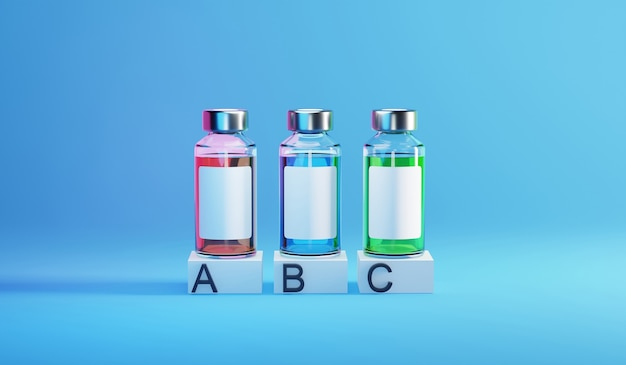 Bottle vial of covid-19 vaccine infographic template. 3d render illustration. Premium Photo