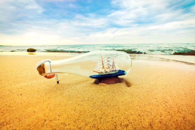 Bottle with ship inside. Free Photo