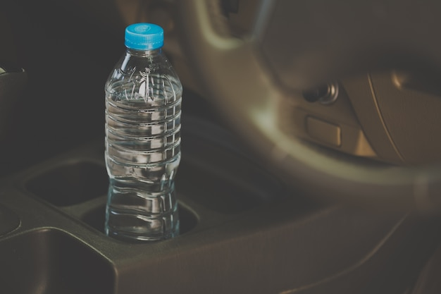 Bottled water was left in the car for a long time. Premium Photo