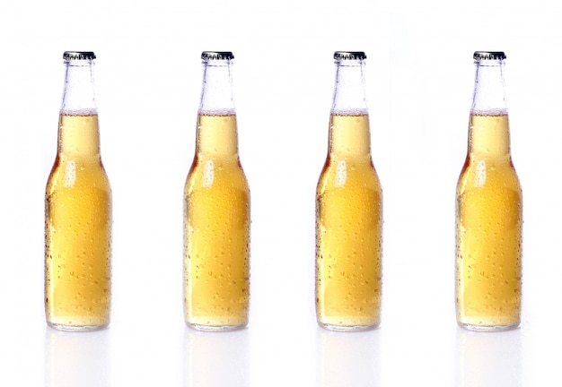 Bottles of beer isolated on white Free Photo