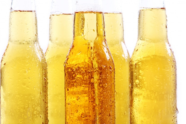 Bottles of cold and fresh beer. Free Photo