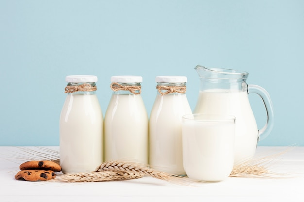 Bottles of fresh milk with american cookies Free Photo
