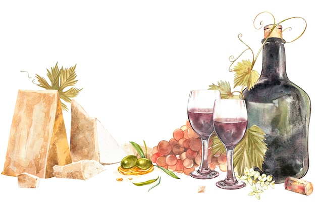 Bottles and glasses of wine and assortment of grapes, isolated on white background. hand drawn watercolor illustration. Premium Photo