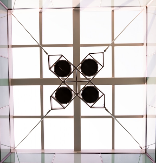 Bottom view of ceiling with geometric object Free Photo