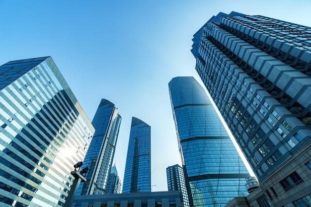 Bottom view of skyscrapers Premium Photo