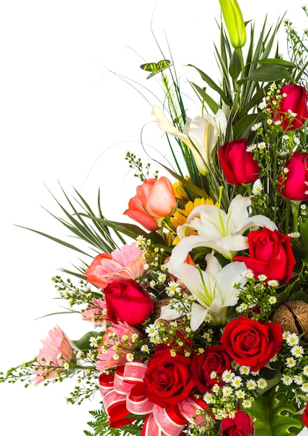 Bouquet Of Flowers With A White Background Photo Free Download