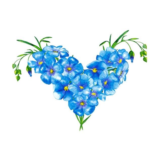 緑の茎と芽の青い亜麻の花のハート形の花束。水彩画。 Premium写真