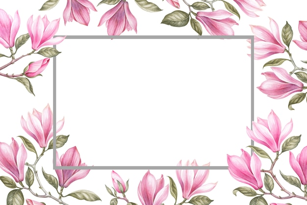 Bouquet of magnolia. invitation card for wedding, birthday and other holiday and summer Premium Photo