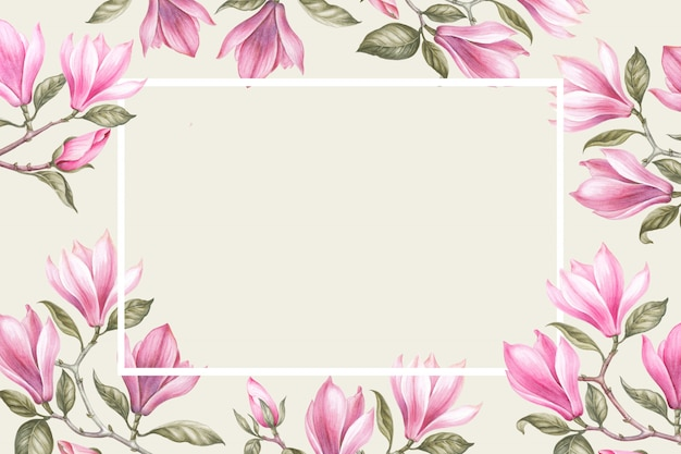 Bouquet of magnolia. invitation card for wedding, birthday and other holiday and summer. Premium Photo