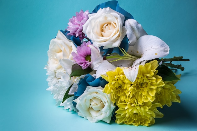 Bouquet of multi colored summer flowers. Premium Photo