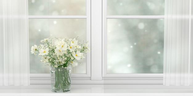 넓은 흰색 창, 3d 그림의 창틀에 서있는 아름다운 흰색 데이지 꽃다발 프리미엄 사진