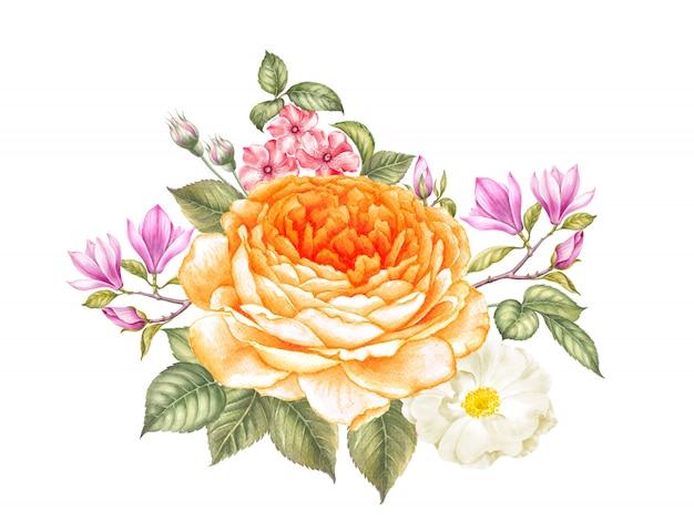 バラとモクレンの花の花束 Premium写真