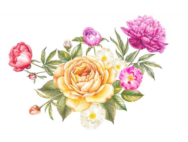 バラと牡丹の花の花束。 Premium写真