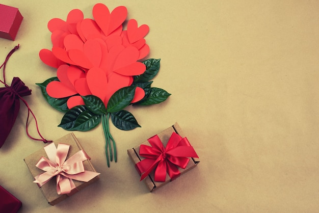 Bouquet of red hearts gift satin ribbon bow concept of valentine's day, birthday, women's day Premium Photo