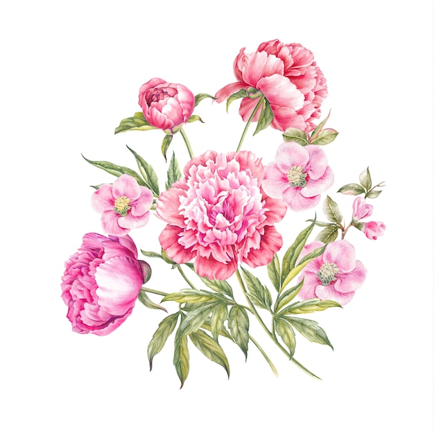 Bouquet of rose flowers isolated Premium Photo