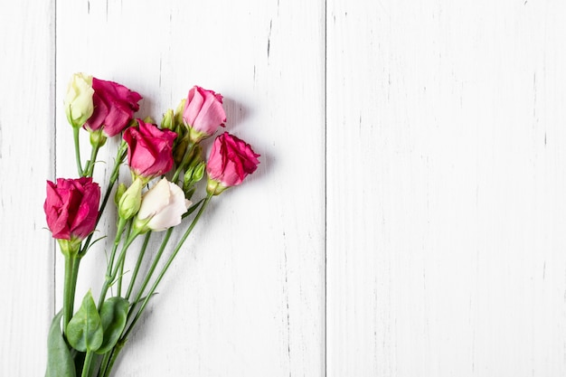 Bouquet of roses on white background with copy space Premium Photo