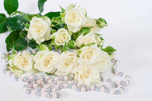 Bouquet of white roses on a white background Premium Photo