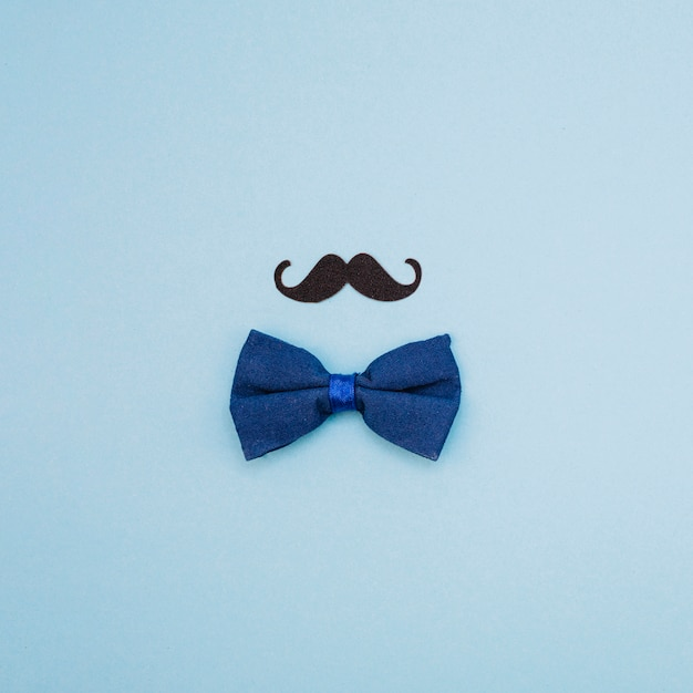 Bow tie and ornamental mustache Free Photo