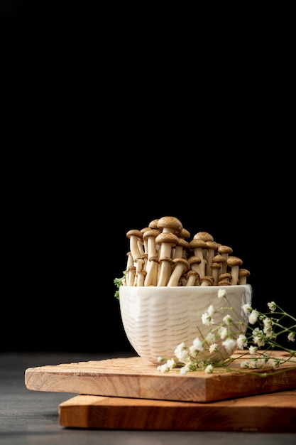 Bowl filled with mushrooms on a wooden support Free Photo