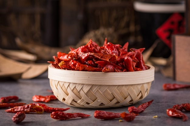 Bowl full hot peppers Free Photo