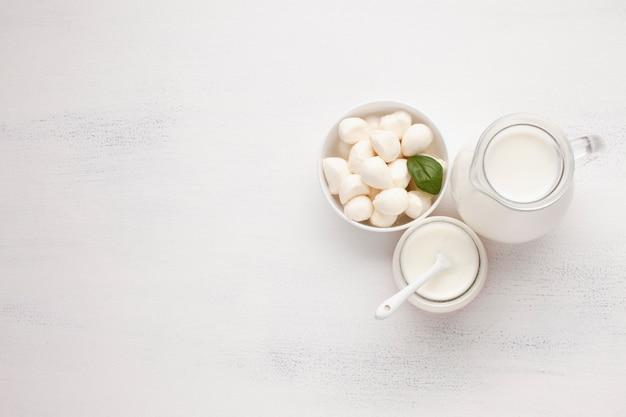 Bowl of mozzarella and jar of milk Free Photo