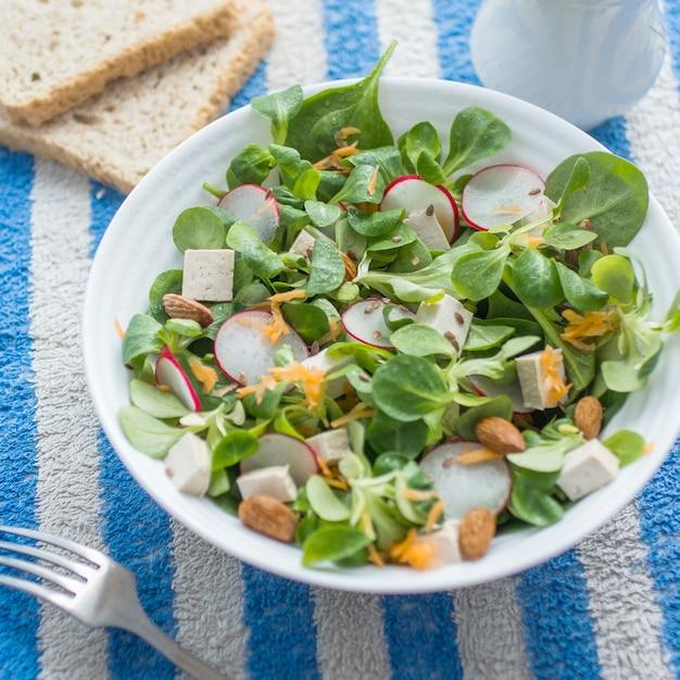 Bowl of salad with radish and green Free Photo