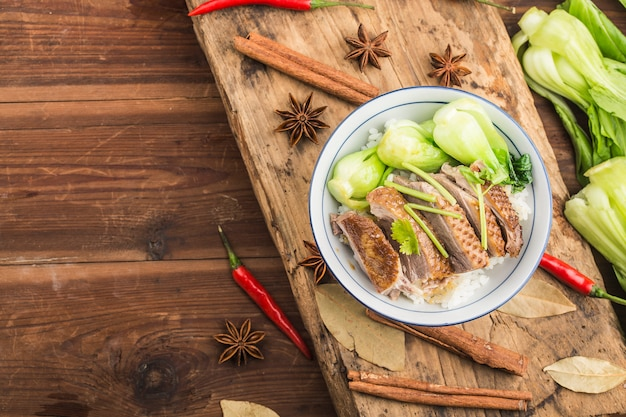 A bowl of stewed goose rice chaoshan specialty of guangdong province china Premium Photo