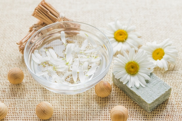 Bowl with camomile petals and camomile Free Photo