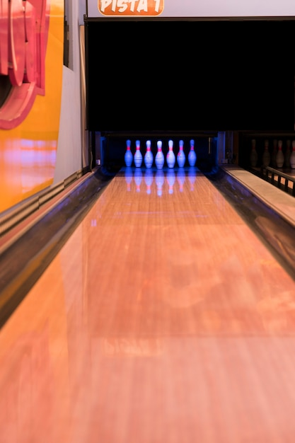Bowling alley with wooden floor Free Photo