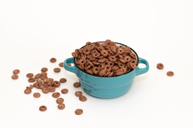 Bowls of various cereals from top view Premium Photo