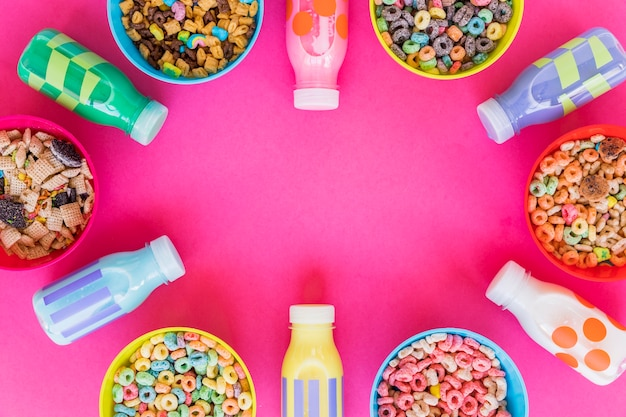 Bowls with different cereals and milk Free Photo