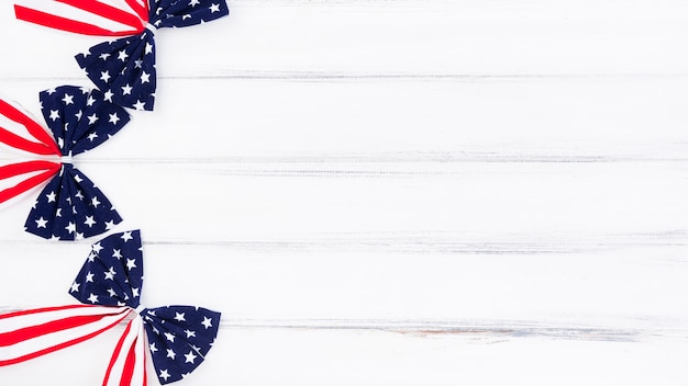 Bows with pattern of usa flag on white background Premium Photo