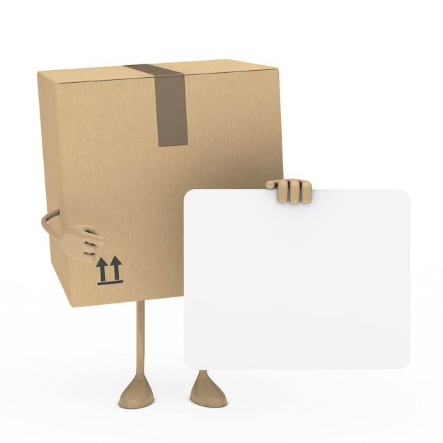 Box posing with a blank placard Free Photo