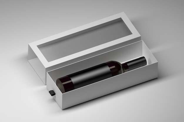 Box template with dark glass wine bottle in white blank gift box on white Premium Photo